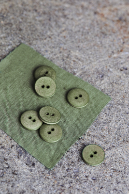 Curb Cotton Button 18 mm - Olive Green