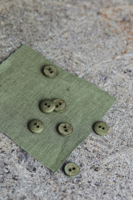 Curb Cotton Button 11 mm - Olive Green