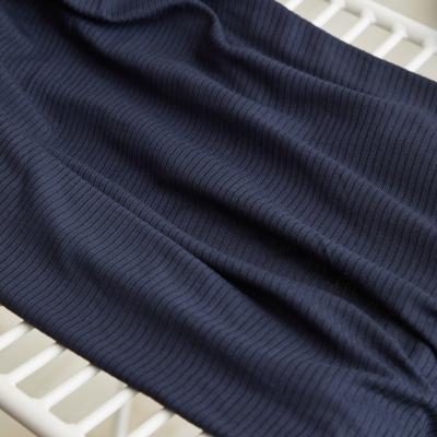 REMNANT 60x130 // Derby Ribbed Jersey - Dark Navy