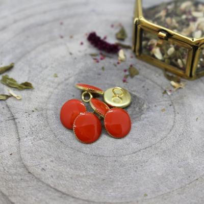 Gem Button, 12 mm - Tangerine