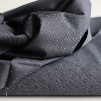 REMNANT 35x150 // Organic Chambray Pois - Carbone