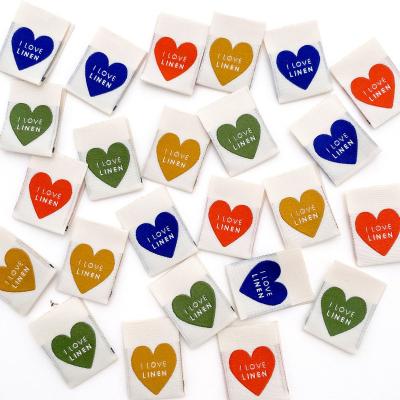 I LOVE LINEN (rainbow) - woven label