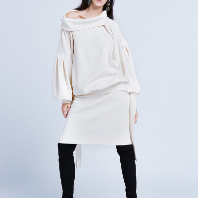 Le 000 ab - Long Dress with collar and blouse effect