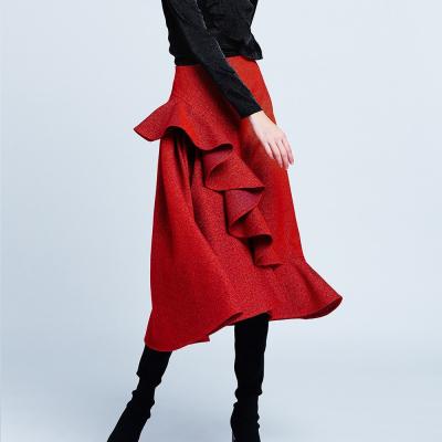 Le 406 ab - Asymmetric skirt with ruffle detail