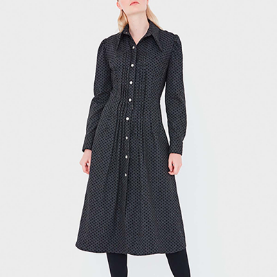 Le 607 - Blouse/Dress with front pleats and yokes