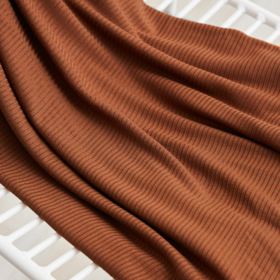 REMNANT 30x125 // Derby Ribbed Jersey - Pecan