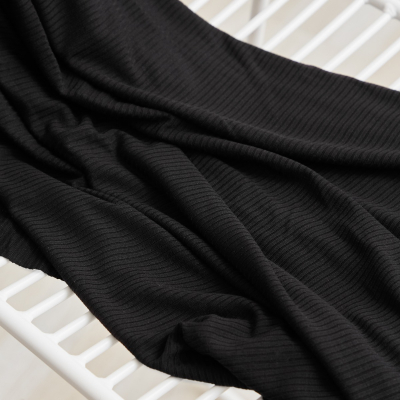 REMNANT 60x140 // Derby Ribbed Jersey - Black