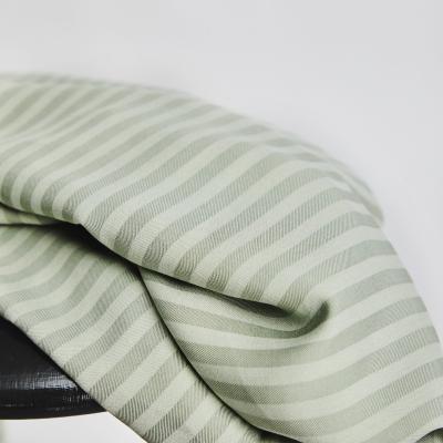 REMNANT 85x150 // Two-tone Stripe Twill - Soft Mint