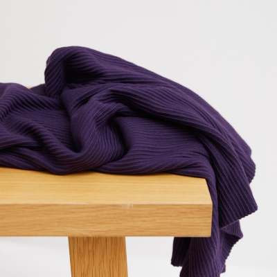 Self-stripe Ottoman Knit - Purple Night