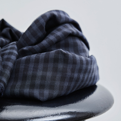 REMNANT 60x150 // Two-tone Check - Dark Navy